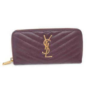 100% Auth YSL Monogram Grain Gold Zippy Wallet